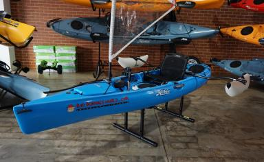X-Display 2015 Hobie Revolution 11 with sail kit and sidekicks (Blue) - Side View